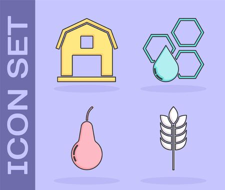 Set Cereals with rice, wheat, corn, oats, rye, Farm House concept, Pear and Honeycomb icon. Vector Ilustração