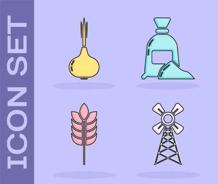Set Windmill, Onion, Cereals with rice, wheat, corn, oats, rye and Bag of flour icon. Vector