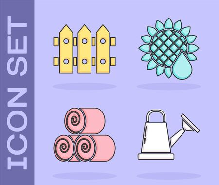 Set Watering can, Garden fence wooden, Roll of hay and Sunflower icon. Vector