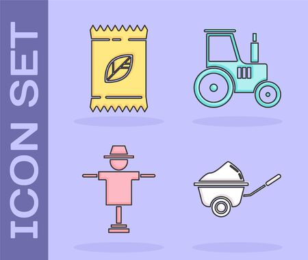 Set Wheelbarrow with dirt, A pack full of seeds of a specific plant, Scarecrow and Tractor icon. Vector Ilustração