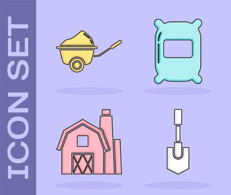 Set Shovel, Wheelbarrow with dirt, Farm House concept and Bag of flour icon. Vector