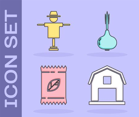Set Farm House concept, Scarecrow, A pack full of seeds of a specific plant and Onion icon. Vector Ilustração