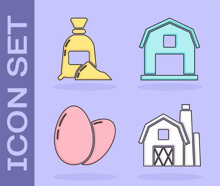 Set Farm House concept, Bag of flour, Chicken egg and Farm House concept icon. Vector Ilustração