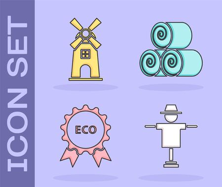Set Scarecrow, Windmill, Banner, label, tag, logo for eco and Roll of hay icon. Vector