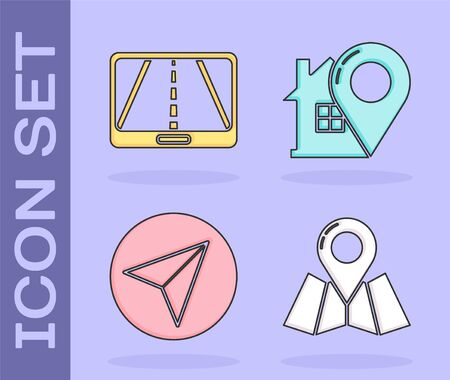 Set Folded map with location marker, Infographic of city map navigation, Paper airplane and Map pointer with house icon. Vector