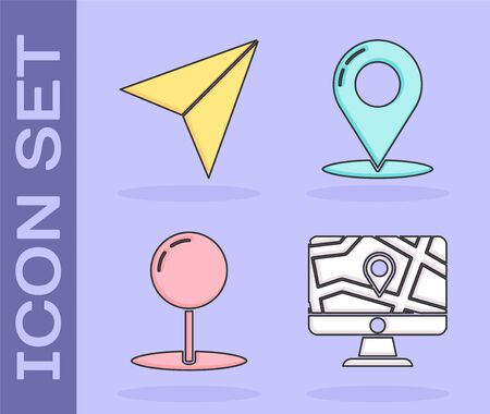 Set Monitor and folded map with location, Paper airplane, Push pin and Map pin icon. Vector