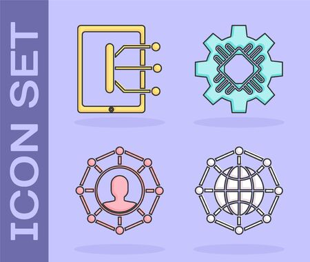 Set Global technology or social network, Tablet, Project team base and Processor icon. Vector Иллюстрация