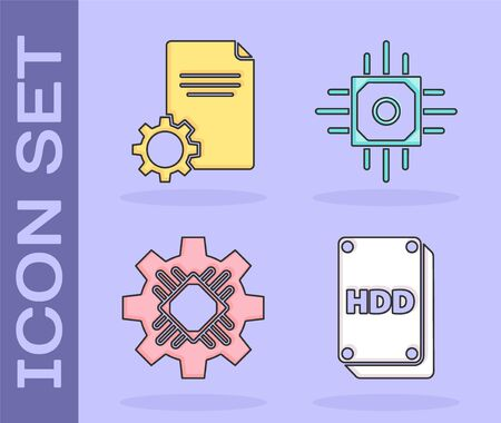 Set Hard disk drive HDD, File document, Processor and Processor icon. Vector