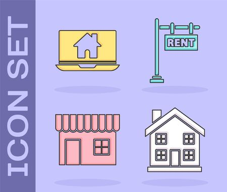 Set Home symbol, Laptop and smart home, Shopping building or market store and Hanging sign with text Rent icon. Vector 일러스트