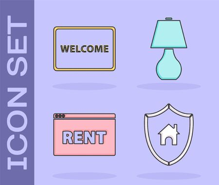 Set House with shield, Doormat with the text Welcome, Hanging sign with text Online Rent and Table lamp icon. Vector