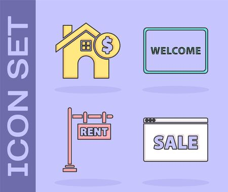 Set Hanging sign with text Online Sale, House with dollar symbol, Hanging sign with text Rent and Doormat with the text Welcome icon. Vector Ilustração