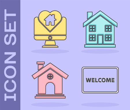 Set Doormat with the text Welcome, Monitor with house in heart shape, House and Home symbol icon. Vector