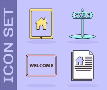 Set House contract, Tablet and smart home, Doormat with the text Welcome and Hanging sign with text Sale icon. Vector