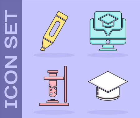 Set Graduation cap, Marker pen, Glass test tube flask on fire and Monitor with graduation cap icon. Vector