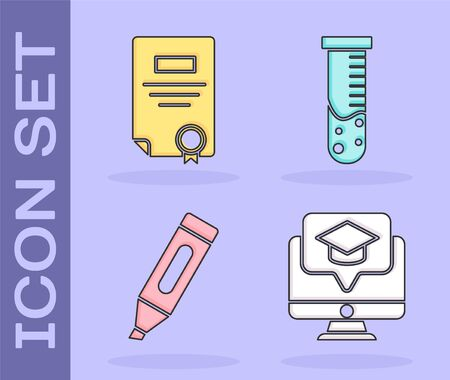 Set Monitor with graduation cap, Certificate template, Marker pen and Test tube and flask chemical laboratory icon. Vector