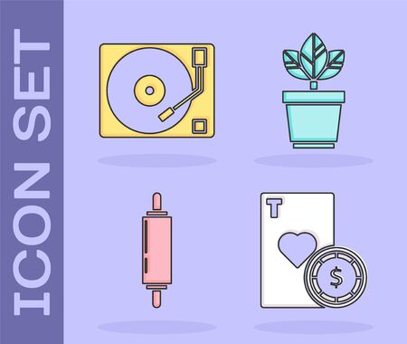 Set Casino chip and playing cards, Vinyl player with a vinyl disk, Rolling pin and Flowers in pot icon. Vector