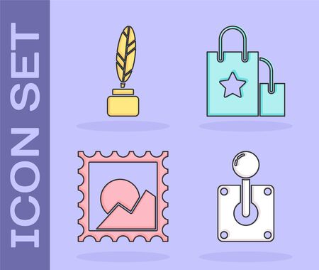 Set Joystick for arcade machine, Feather and inkwell, Picture landscape and Paper shopping bag icon. Vector