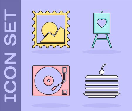 Set Cake, Picture landscape, Vinyl player with a vinyl disk and Wood easel or painting art boards icon. Vector