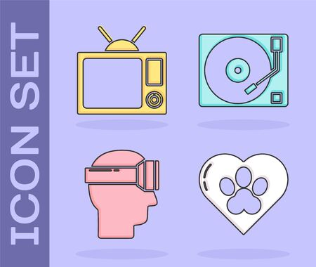 Set Heart with animals footprint, Television, Virtual reality glasses and Vinyl player with a vinyl disk icon. Vector 向量圖像