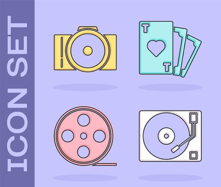 Set Vinyl player with a vinyl disk, Photo camera, Film reel and Playing card with heart symbol icon. Vector