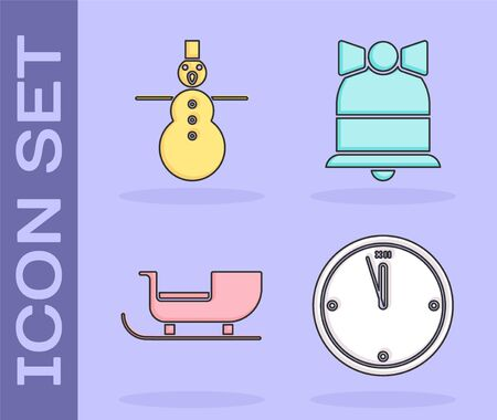 Set Clock, Christmas snowman, Christmas santa claus sleigh and Merry Christmas ringing bell icon. Vector Stock Illustratie