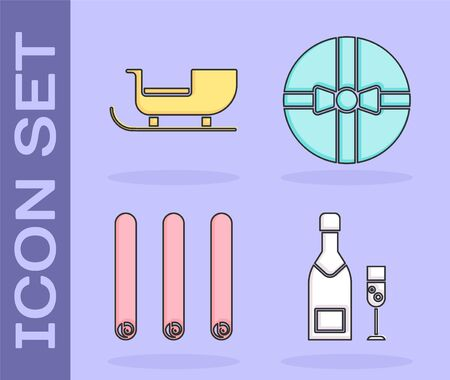 Set Champagne bottle and glass of champagne, Christmas santa claus sleigh, Three rolled sticks of cinnamon and Gift box icon. Vector Stock Illustratie