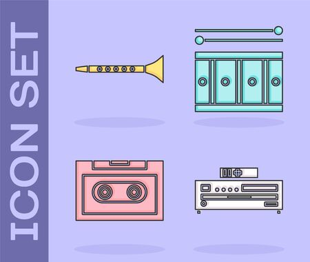 Set Music CD player, Clarinet, Retro audio cassette tape and Drum with drum sticks icon. Vector