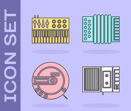Set Music tape player, Music synthesizer, Music CD player and Musical instrument accordion icon. Vector Illustration