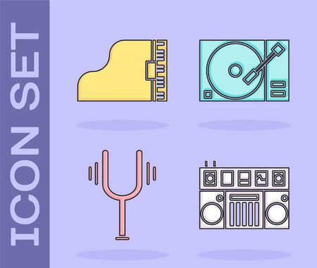 Set DJ remote for playing and mixing music, Grand piano, Musical tuning fork and Vinyl player with a vinyl disk icon. Vector Illustration