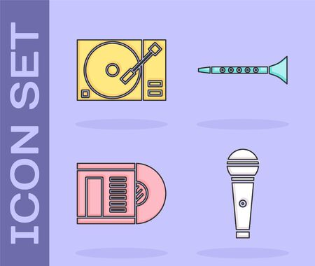 Set Microphone, Vinyl player with a vinyl disk, Vinyl disk and Clarinet icon. Vector 向量圖像