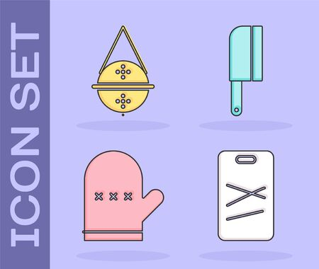 Set Cutting board, Ball tea strainer, Oven glove and Meat chopper icon. Vector