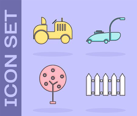 Set Garden fence wooden, Tractor, Tree and Lawn mower icon. Vector