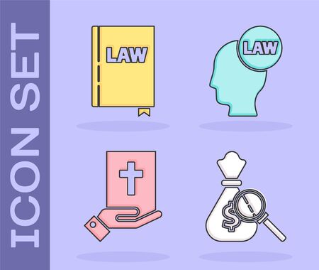 Set Money bag and magnifying glass, Law book, Oath on the Holy Bible and Head with law icon. Vector