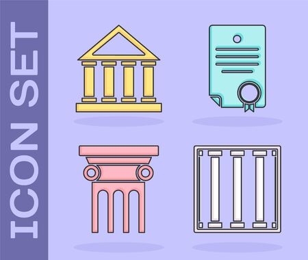 Set Prison window, Courthouse building, Law pillar and Certificate template icon. Vector