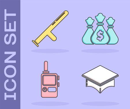 Set Graduation cap, Police rubber baton, Walkie talkie and Money bag icon. Vector