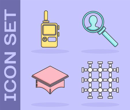 Set Prison window, Walkie talkie, Graduation cap and Magnifying glass for search icon. Vector
