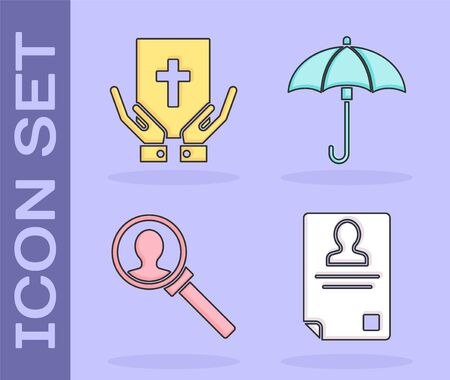 Set Identification badge, Oath on the Holy Bible, Magnifying glass for search and Umbrella icon. Vector