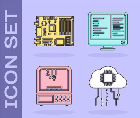 Set Internet of things, Electronic computer components motherboard digital chip, 3D printer and Computer monitor screen icon. Vector