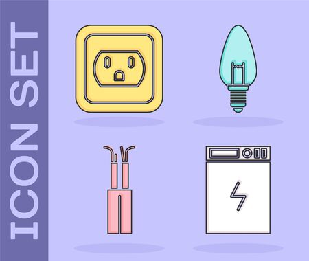 Set Power bank, Electrical outlet in the USA, Electric cable and Light bulb icon. Vector