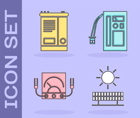 Set Solar energy panel and sun, Car battery, Ampere meter, multimeter, voltmeter and Battery icon. Vector