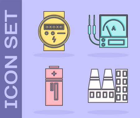 Set Power station plant and factory, Electric meter, Battery and Ampere meter, multimeter, voltmeter icon. Vector