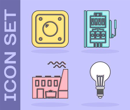 Set Light bulb with concept of idea, Electric light switch, Coal power plant and factory and Electrical panel icon. Vector