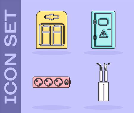 Set Electric cable, Battery in pack, Electric extension cord and Electrical cabinet icon. Vector