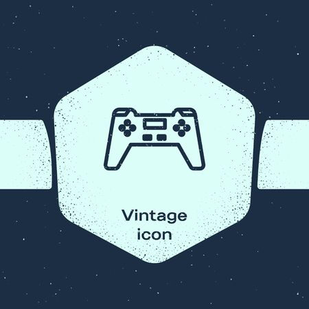 Grunge line Gamepad icon isolated on blue background. Game controller. Monochrome vintage drawing. Vector Illustration