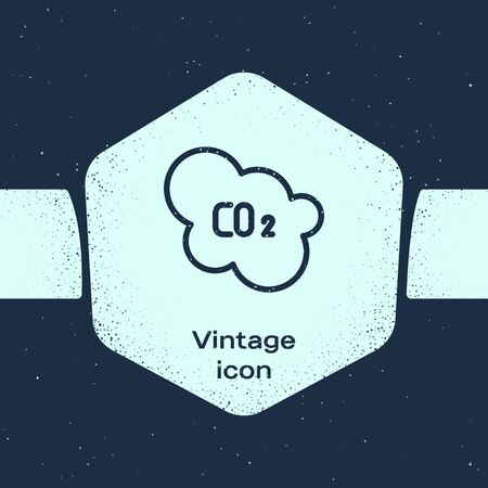 Grunge line CO2 emissions in cloud icon isolated on blue background. Carbon dioxide formula, smog pollution concept, environment concept. Monochrome vintage drawing. Vector Illustration