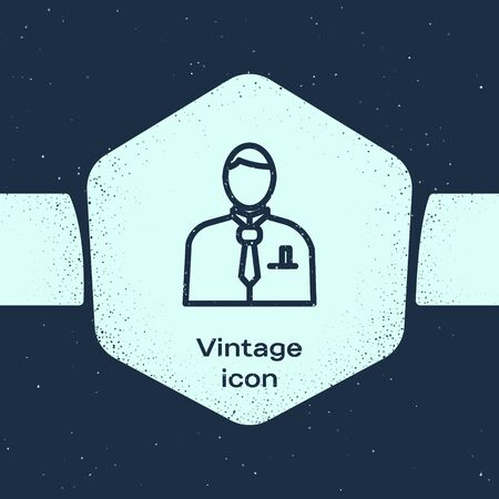 Grunge line Businessman or stock market trader icon isolated on blue background. Monochrome vintage drawing. Vector Illustration