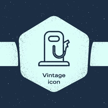 Grunge line Petrol or gas station icon isolated on blue background. Car fuel symbol. Gasoline pump. Monochrome vintage drawing. Vector Illustration