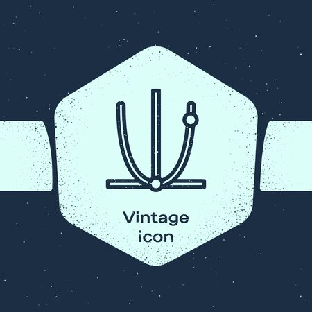 Grunge line Ringing bell icon isolated on blue background. Alarm symbol, service bell, handbell sign, notification symbol. Monochrome vintage drawing. Vector Illustration