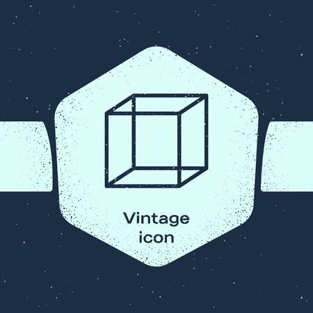 Grunge line Function mathematical symbol icon isolated on blue background. Monochrome vintage drawing. Vector Illustration Illustration
