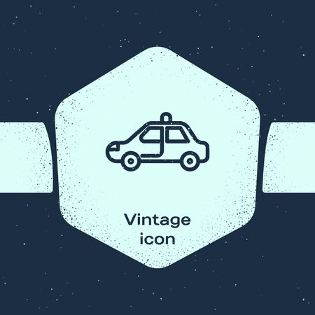 Grunge line Police car and police flasher icon isolated on blue background. Emergency flashing siren. Monochrome vintage drawing. Vector Illustration